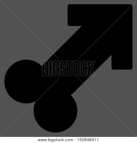 Male Sexual Symbol vector icon. Style is flat symbol black color rounded angles gray background.