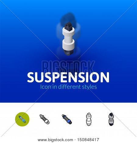 Suspension color icon, vector symbol in flat, outline and isometric style isolated on blur background