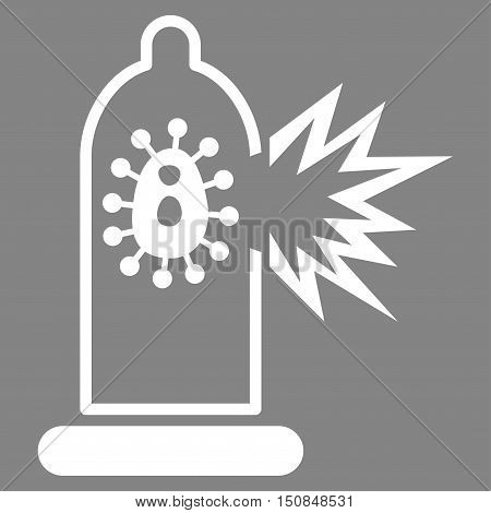 Damaged Condom With Virus vector icon. Style is flat symbol white color rounded angles gray background.