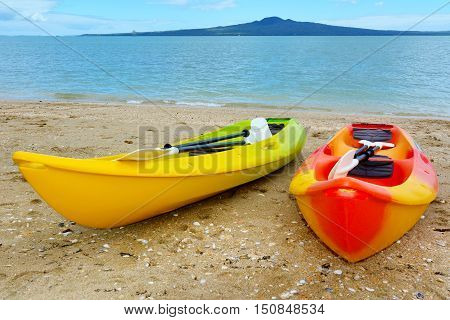 Two Kayaks Against Rangitoto Island - New Zealand
