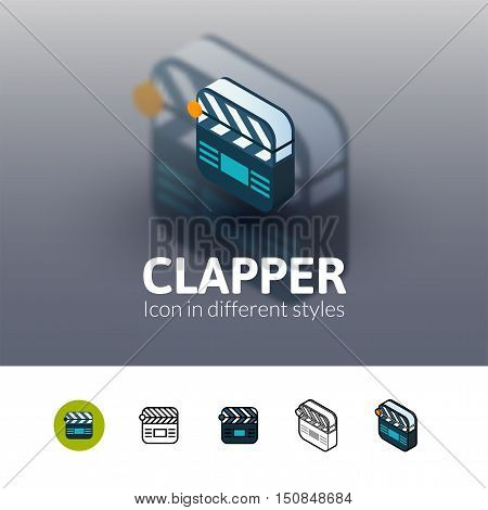 Clapper color icon, vector symbol in flat, outline and isometric style isolated on blur background