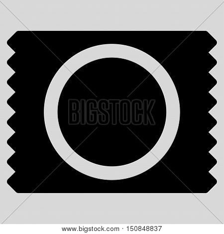 Condom Pack vector icon. Style is flat symbol black color rounded angles light gray background.