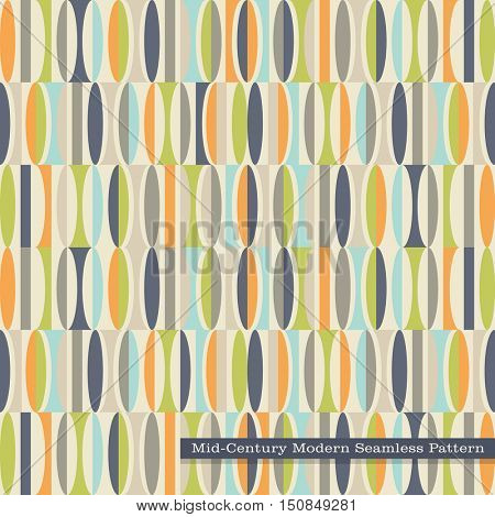 seamless retro pattern in mid century modern style. Abstract ovals in vintage colors.