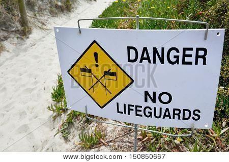 Danger No Lifeguards Sign