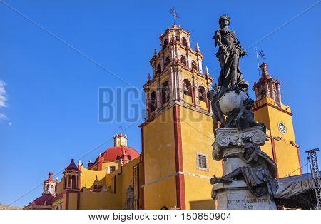 Our Lady of Guanajuato Paz Peace Statu Guanajuato Mexico Statue donated To City by Charles V Holy Roman Emperor in the 1500s. Steeple Towers Basilica de Nusetra Senora Guanajuato Mexico