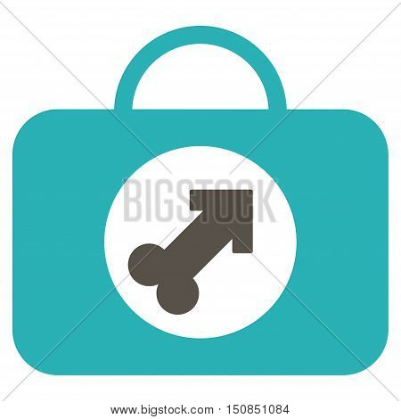 Male Erection Case vector icon. Style is bicolor flat symbol, grey and cyan colors, rounded angles, white background.