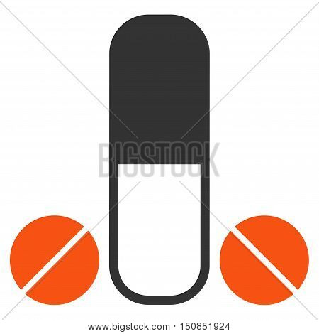 Male Medication vector icon. Style is bicolor flat symbol, orange and gray colors, rounded angles, white background.