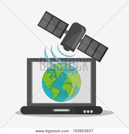 Satellite planet and laptop icon. Global communication internet and technology theme. Colorful design. Vector illustration
