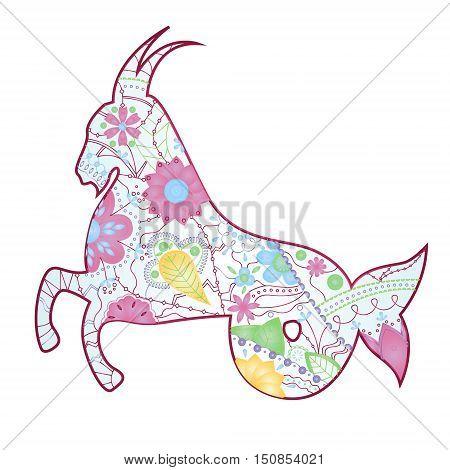 vector illustration of Capricorn zodiac sign gradient