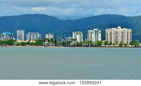 Landscape View Of Cairns Waterfront Skyline