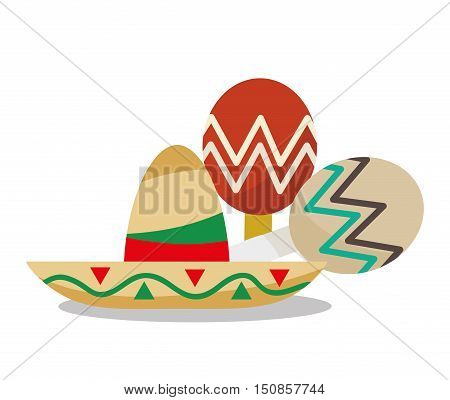 Hat and maraca icon. Mexico mexican culture landmark and latin theme. Colorful design. Vector illustration
