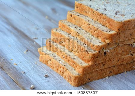 Fresh Sliced Bread Slices In A Shape Of Stair Case