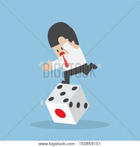 Businessman Standing On Unstable Dice