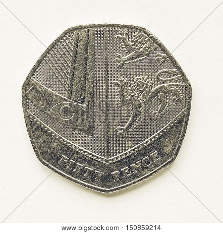 Vintage Uk 50 Pence Coin