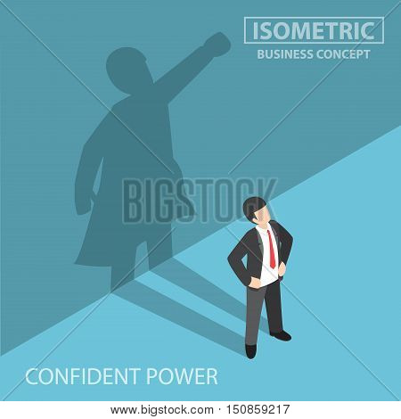 Isometric Businessman With His Superhero Shadow
