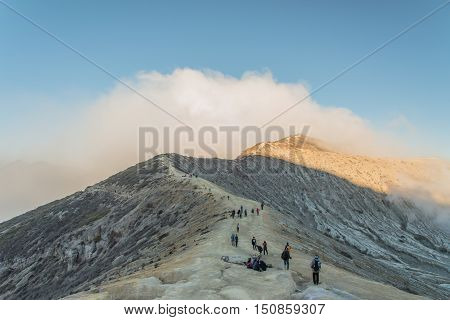 Kawah Ijen Crater on the morning, INDONESIA.