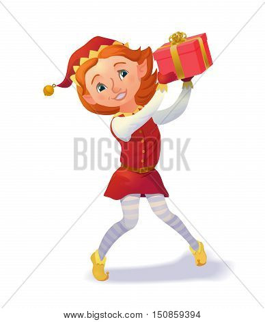 Cute santa's elf girl holding christmas gift. Xmas cartoon character. Vector illustration