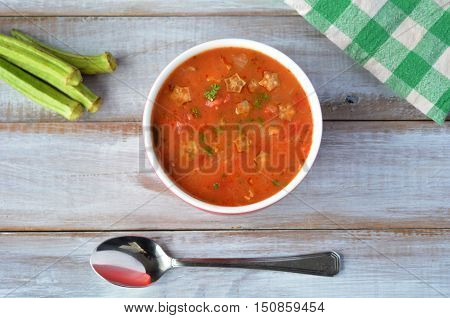 Falt Lay Of Traditional North African Okra Soup