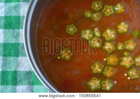 Close up photo of African okra vegetable soup