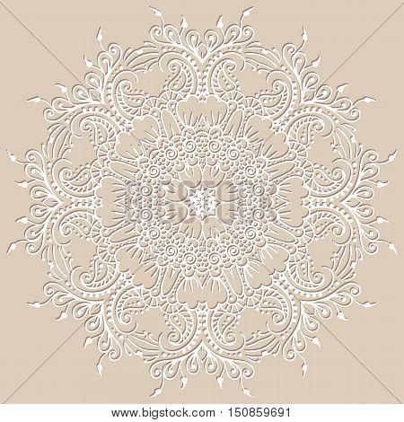 Circular vector ethnic mehndi pattern, template for mehndi ornament. Hand drawn ornamental flowers. Set of indian style ornaments. Floral mehndi ornamental elements henna