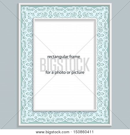 3D Vector bas-relief rectangular frame for photo or picture vintage vignette with openwork border festive pattern gift template.