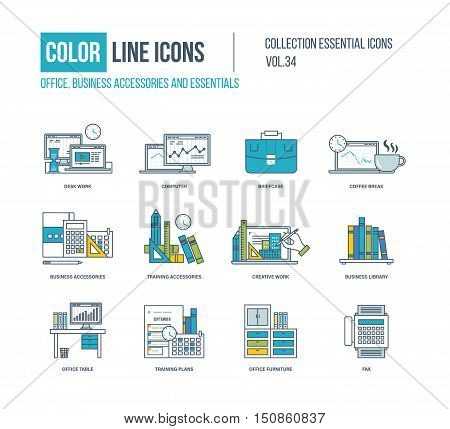 Color Line icons collection. Business accessories and essentials. Desk work, coffee break, training accessories, creative work, business library, office table, training plans, office furniture