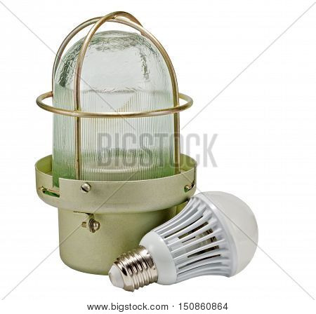 the construction lamp isolated over white background