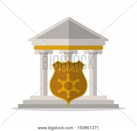 Building and police shield icon. Law justice and legal theme. Colorful design. Vector illustration