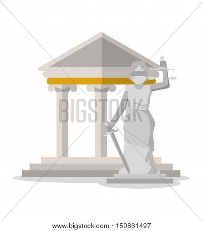 Monument and building icon. Law justice and legal theme. Colorful design. Vector illustration