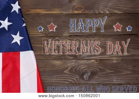 Happy Veteran's Day ,USA flag in the shape of a star on a gold background .11 November in the United States celebrated veterans Day.