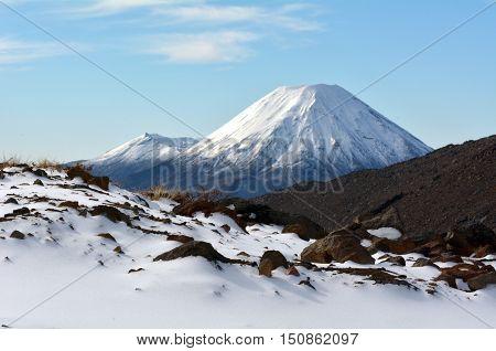 Winter Landscape Of Mount Ngauruhoe  And Mount Tongariro
