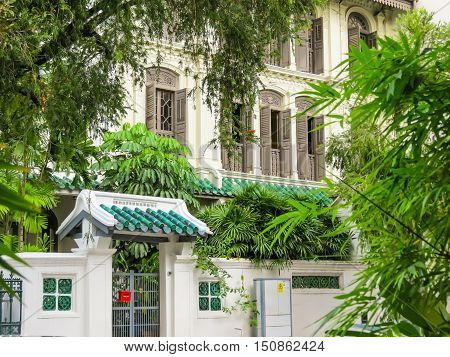 SINGAPORE, REPUBLIC OF SINGAPORE - JANUARY 10, 2014: Chinese Baroque architecture in Emerald Hill, Singapore