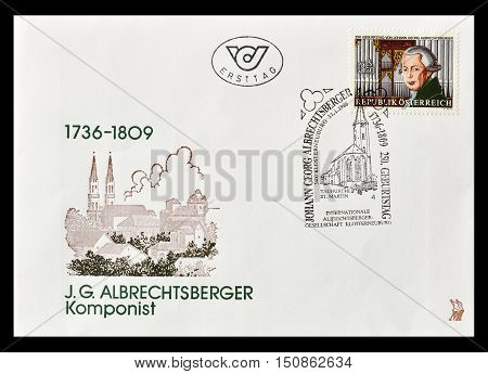 AUSTRIA - CIRCA 1986 : First day cover letter printed by Austria, that shows Johann Georg Albrechtsberger.
