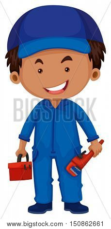 Plumber holding toolbox and wrench illustration