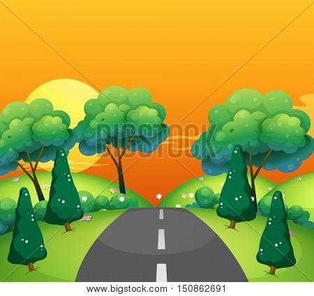 Countryside scene with road at sunset illustration