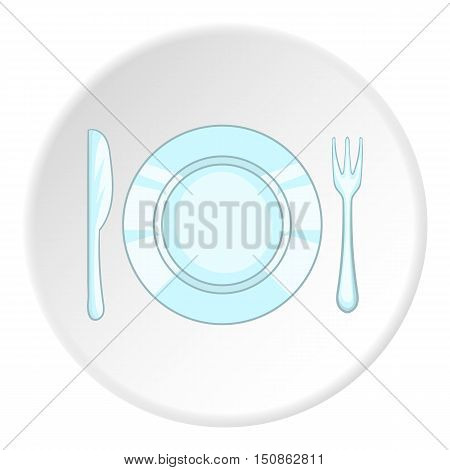 Plate with knife and fork icon. Cartoon illustration of plate with knife and fork vector icon for web