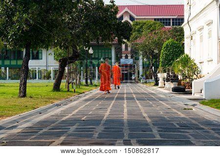Buddhist Novice Monks In Bright Orange Robe Casually Walking