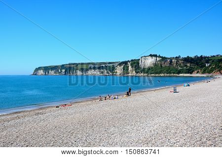 SEATON, UNITED KINGDOM - JULY 18, 2016 - View of the pebble beach and coastline Seaton Devon England UK Western Europe, July 18, 2016.