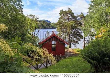 TROLDHAUGEN, NORWAY - JULY 3. 2016: This is small house on the shore of lake Nordasvatnet where the composer Edvard Grieg retreated to work.