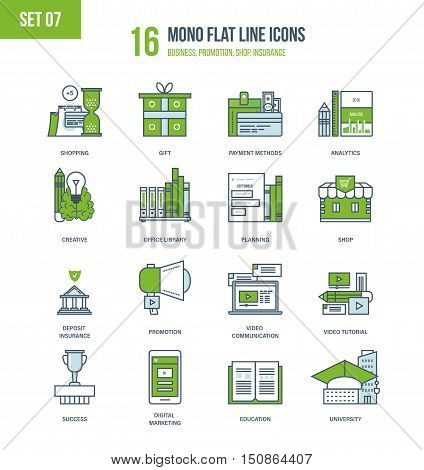 Color Flat Line icons set of education and office library, analytics and planning, creativity, shop and payment methods, video technology, digital marketing, insurance and promotion. Editable Stroke.