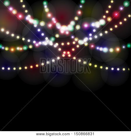 Refraction festive lights in the background of the night. Vector illustration