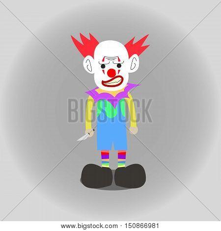 Terror or Mad Clown Flat Cartoon Illustration Isolated.