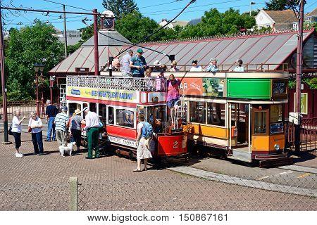SEATON, UNITED KINGDOM - JULY 18, 2016 -View of Seaton Electric Tramway Trams outside the tram station Seaton Devon England UK Western Europe, July 18, 2016.