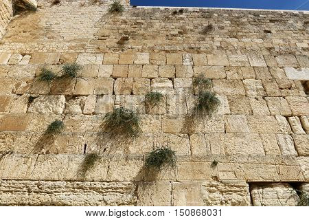 Wailing Wall - part of the ancient wall around the Temple Mount in the Old City of Jerusalem, after surviving the destruction of the Second Temple