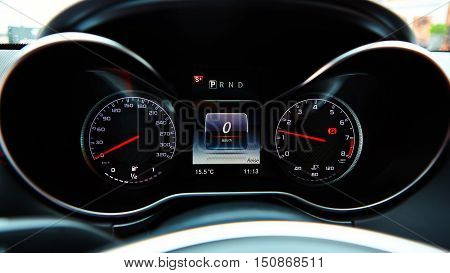 Modern car speedometer. Close up shot of the dashboard a car