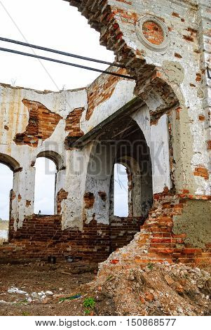 Ruins of church in Romanovo village after destruction in 30 years of XX century. Tyumen region