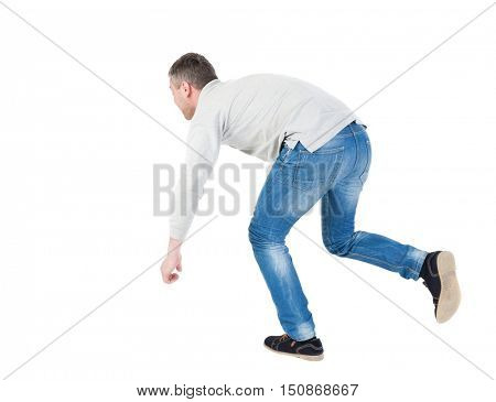 Balancing young man or dodge falling man. Rear view people collection.  backside view of person.  Isolated over white background. Man blows the wind. Running man stumbled, trying not to fall.