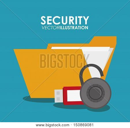 File usb and padlock icon. Security system warning and protection theme. Colorful design. Vector illustration