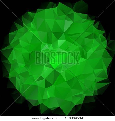 Geometric spherical shape from triangles on dark background. Abstract polygonal green dark wallpaper. Creative template for business design. Vector illustration.