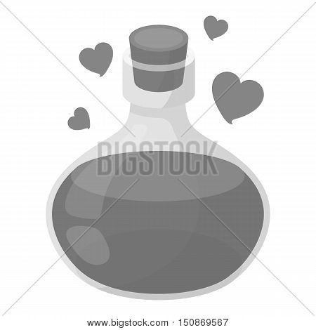 Love potion icon in monochrome style isolated on white background.   white magic symbol vector illustration.